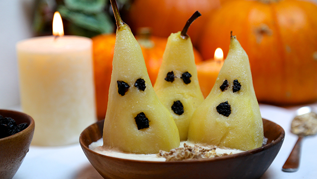 Spooky Pears with Cashew Cream